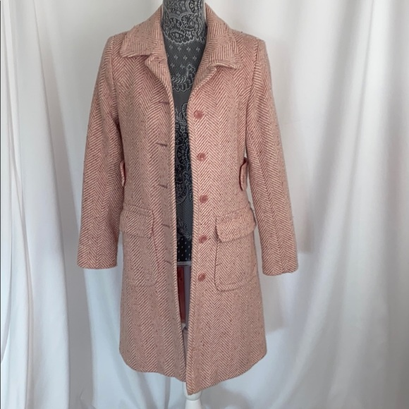 Pink Chevron Wool Coat